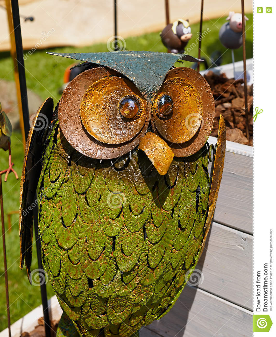 Statue Figurine Of Owl Made Of Metal Stock Photo - Image of grunge ...