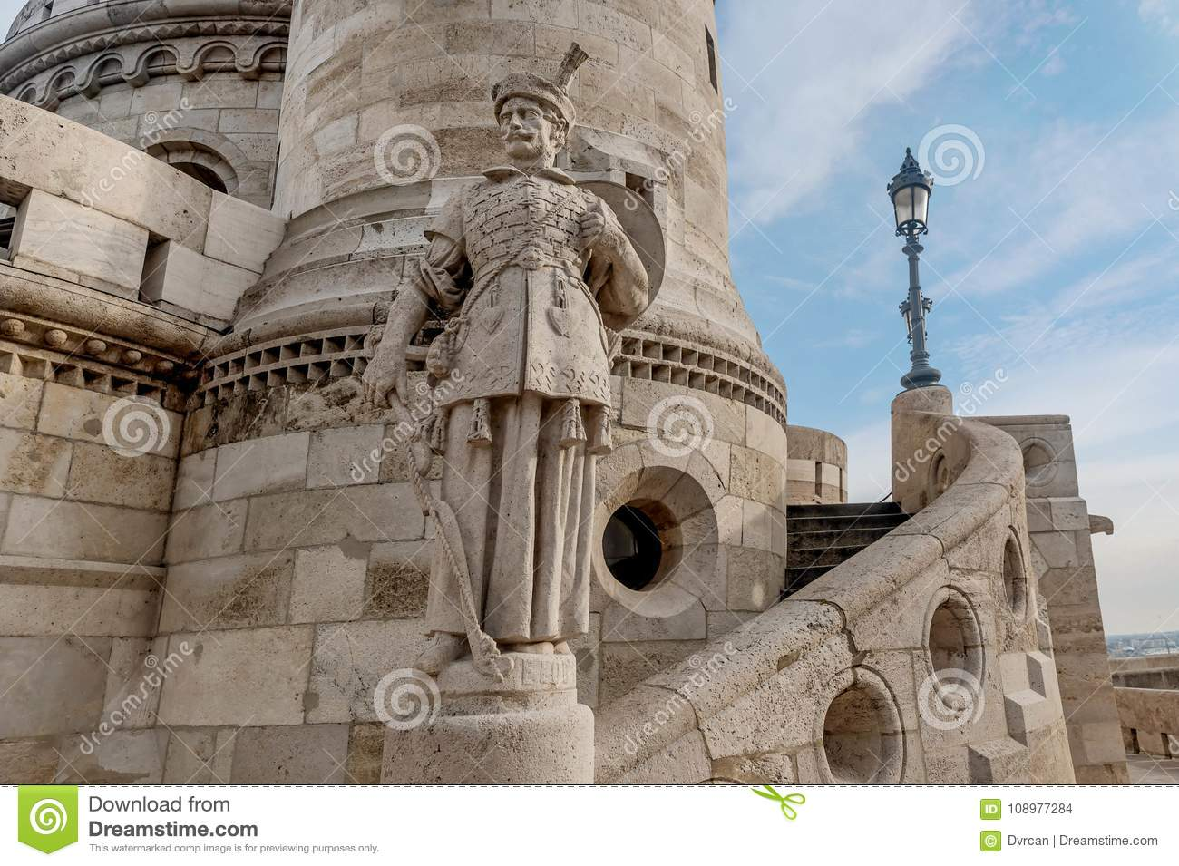 Statue at Fisherman Bastion, Buda Castle in Budapest, Hungary