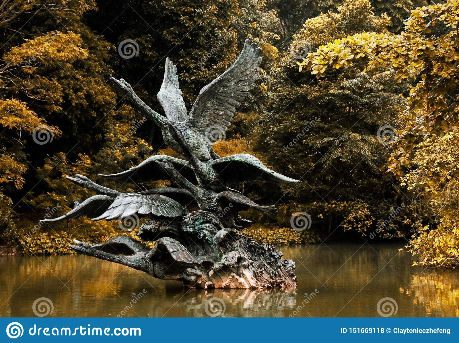 Statue of flying swan