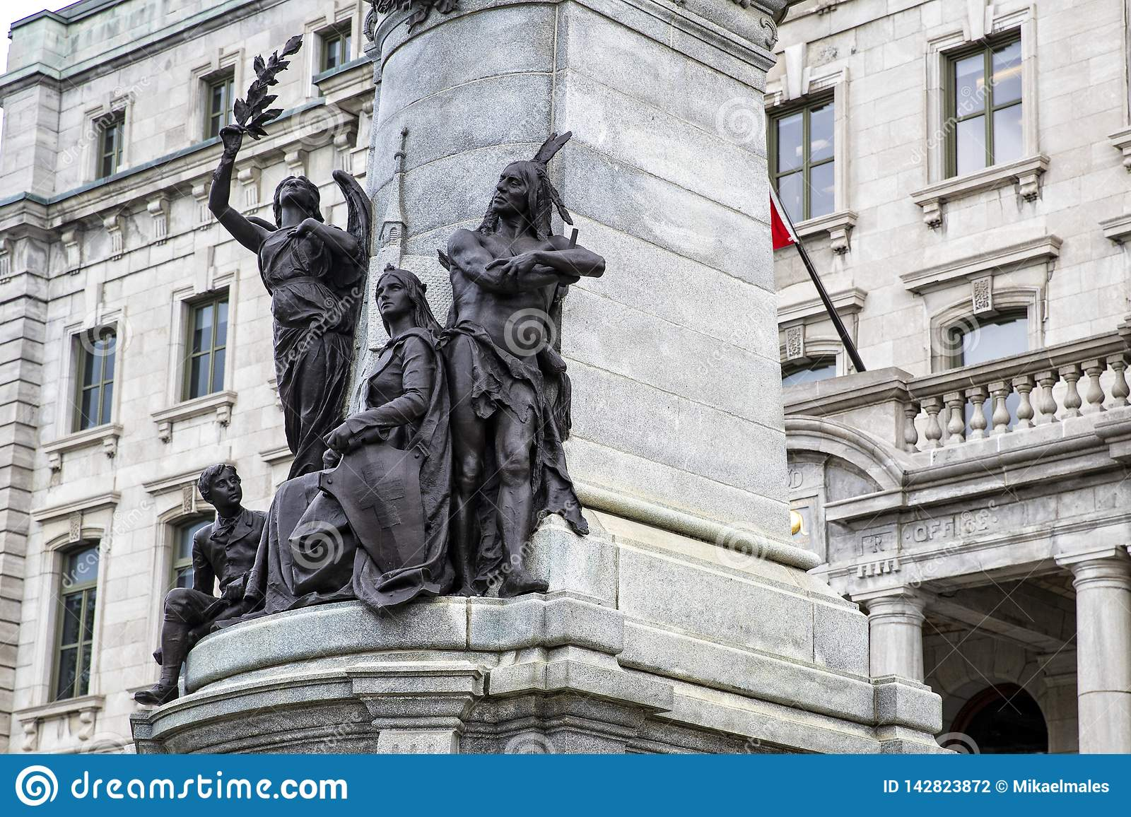 Statue of Francois Xavier de Montmorency Laval, with native indians and colonialist underneath