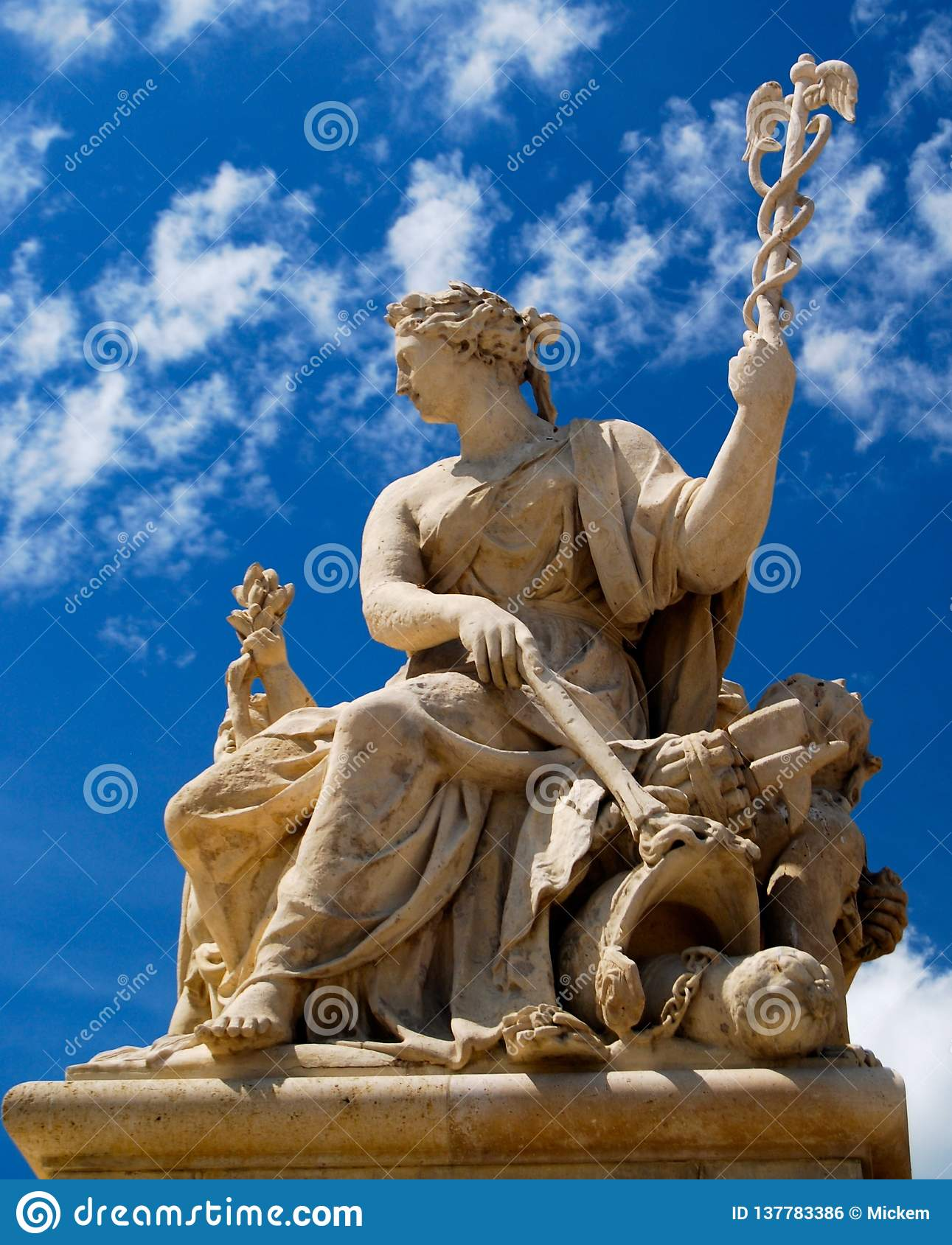 Palace of Versailles France Statue with Staff of Caduceus