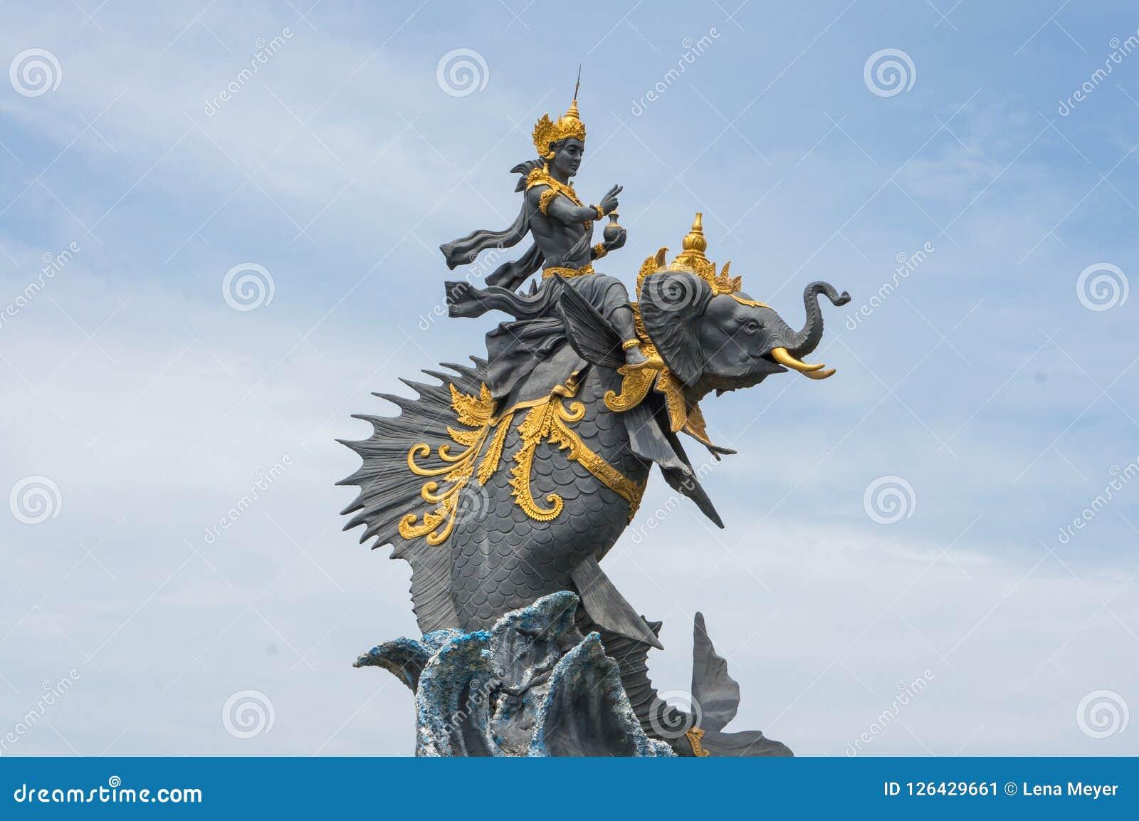 Statue Of Gajah Mina On Pererenan Beach Close To Canggu Stock