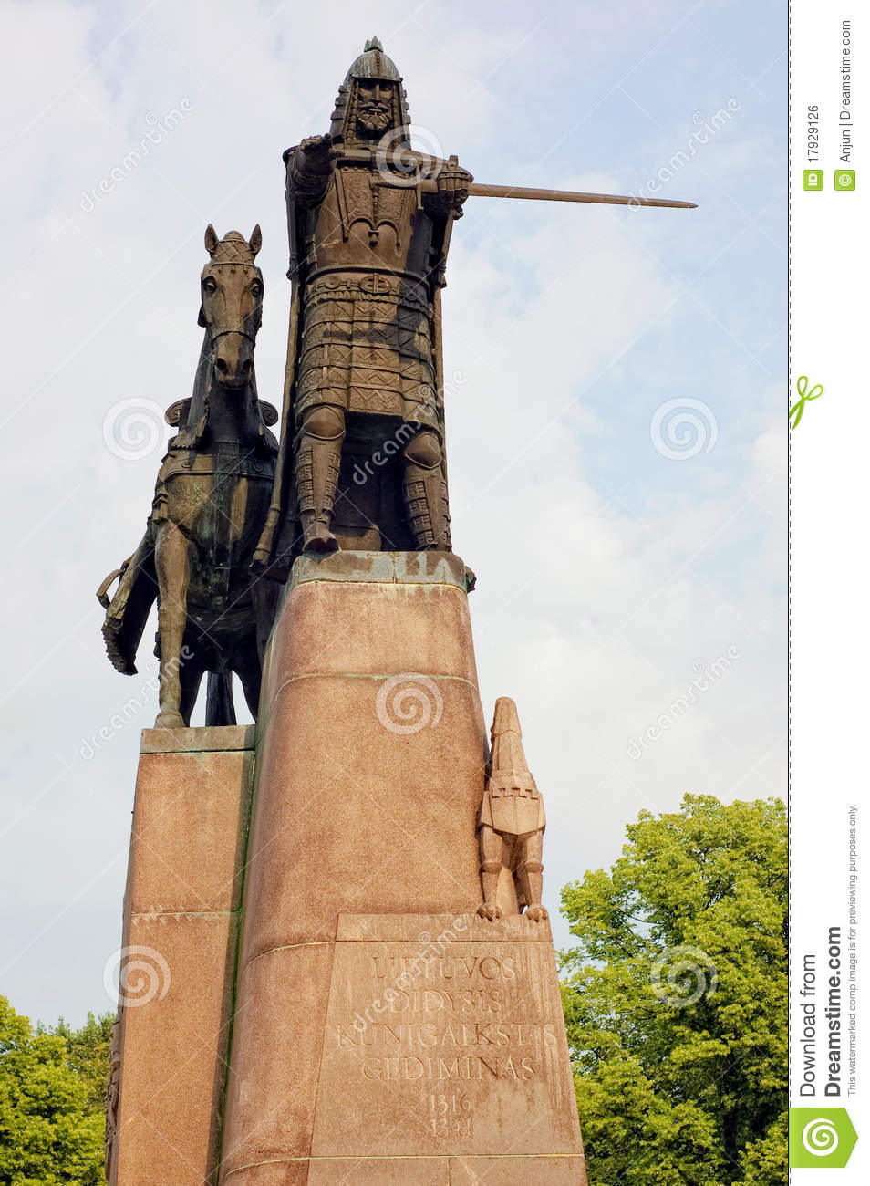Statue of Gediminas, the ruler of Lithuania