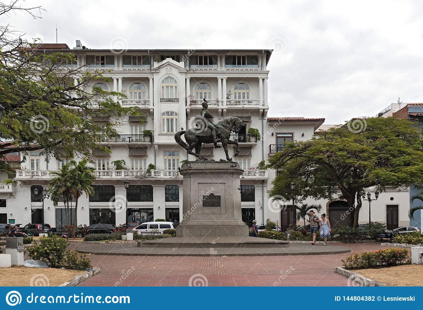 Statue of general tomas herrera on the square of the same name in casco viejo panama city