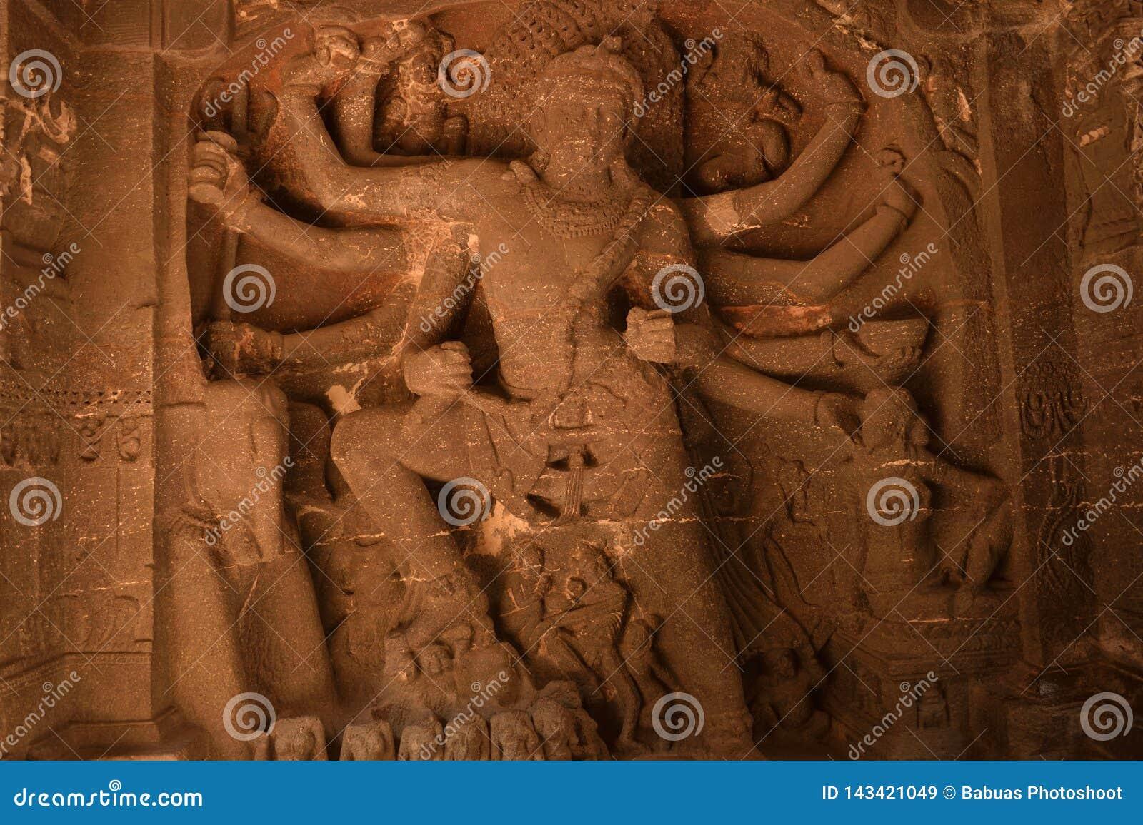 Statue of Goddess Durga at Ellora Caves, India