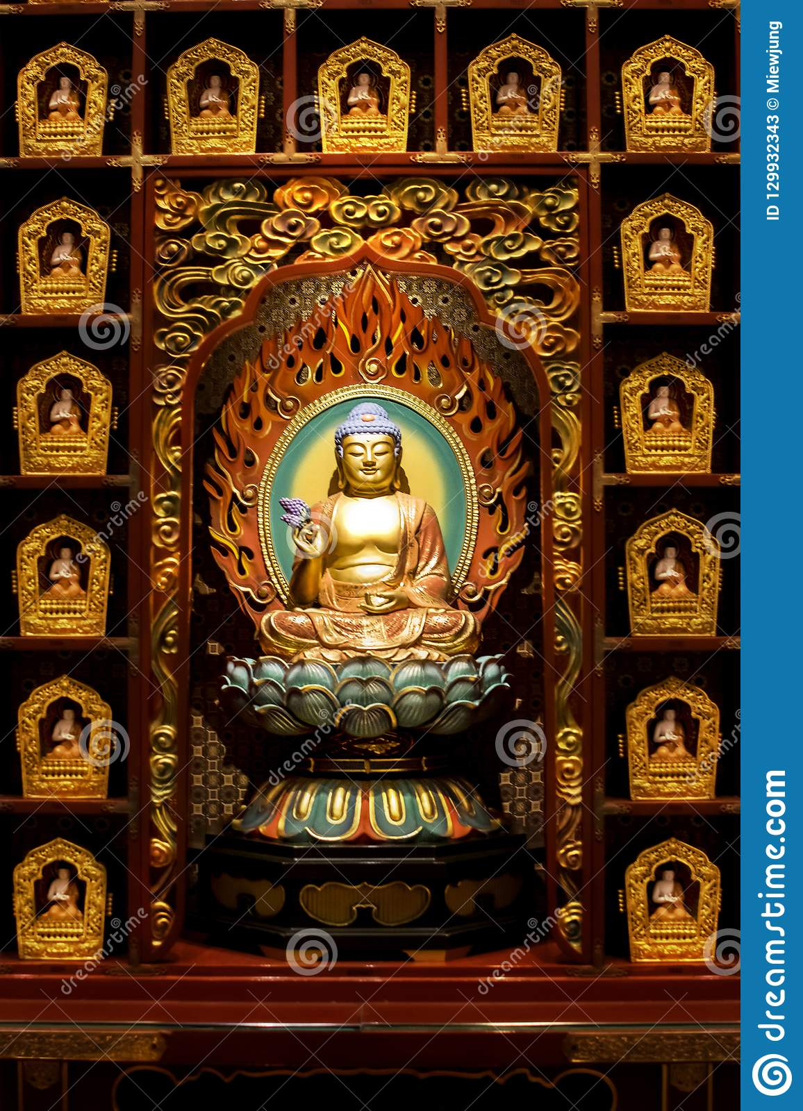 The statue of Buddha in Chinese Buddha Tooth Relic Temple, Singapore.
