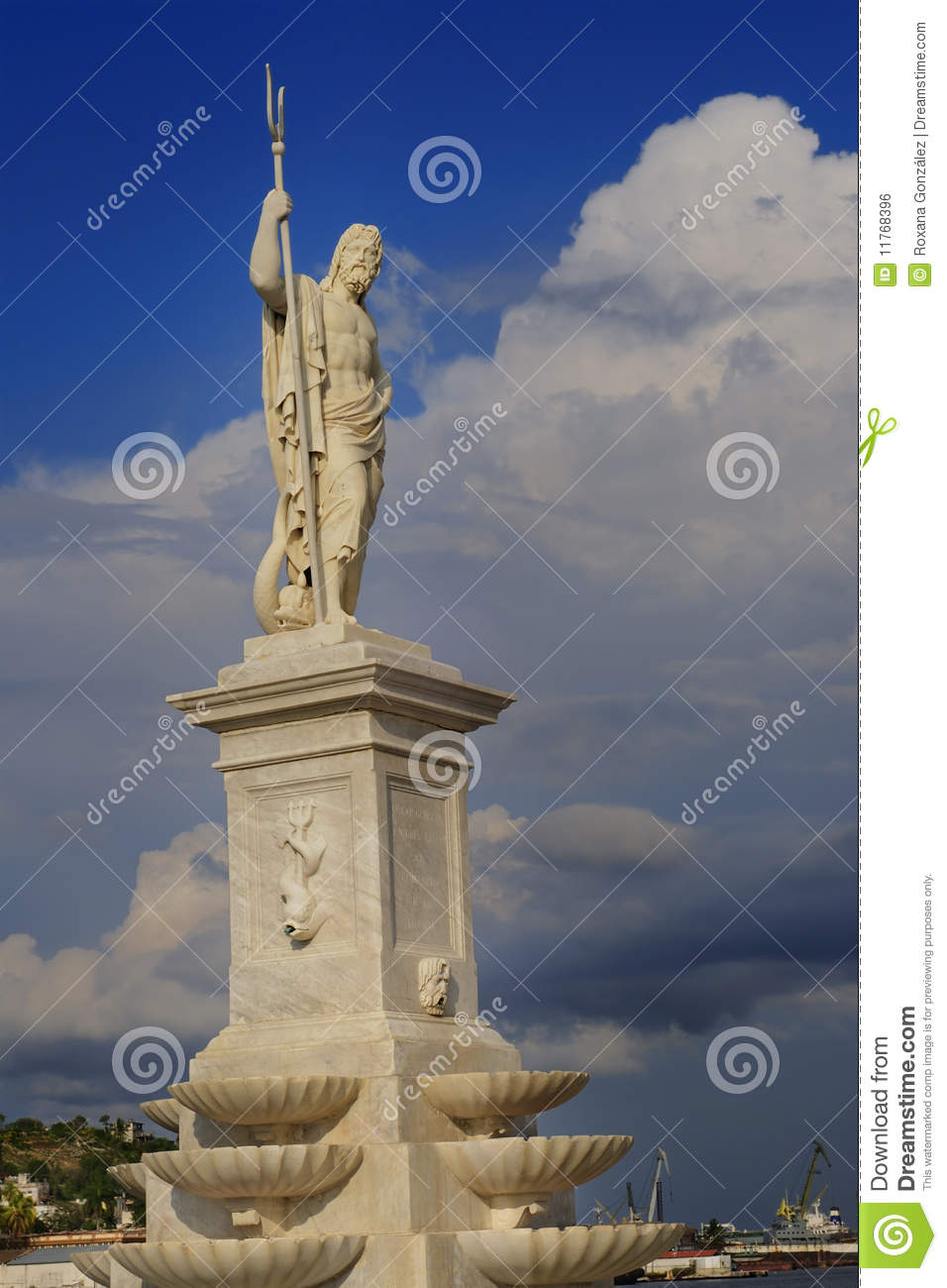 Statue of greek god poseidon at havana bay stock photo image 11768396 - Poseidon statue greece ...