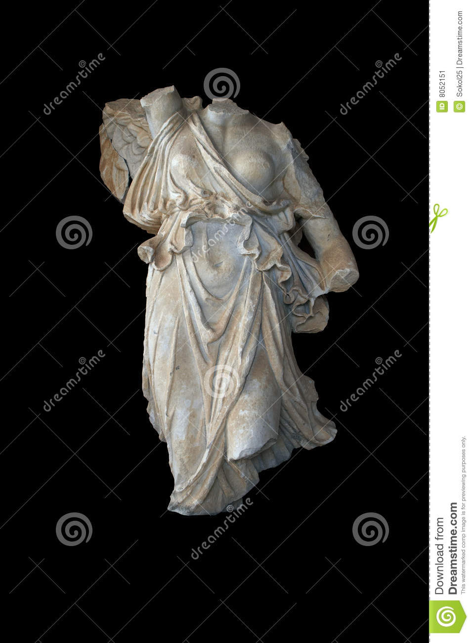 statue of greek goddess nike with path stock image image 8052151