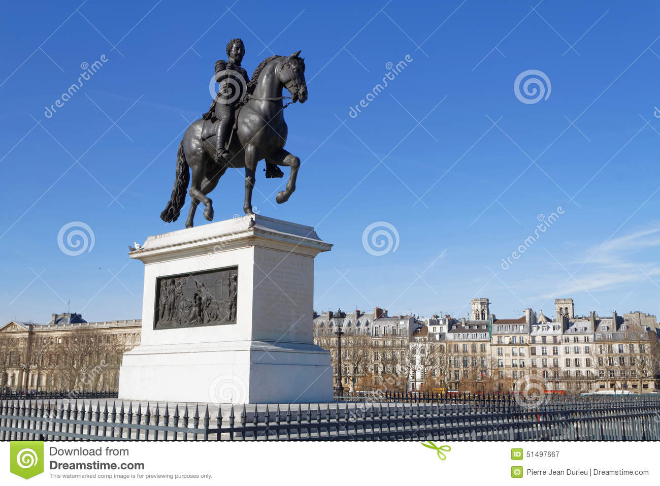 Statue Of Henry Iv On The Pont Neuf Editorial Photography