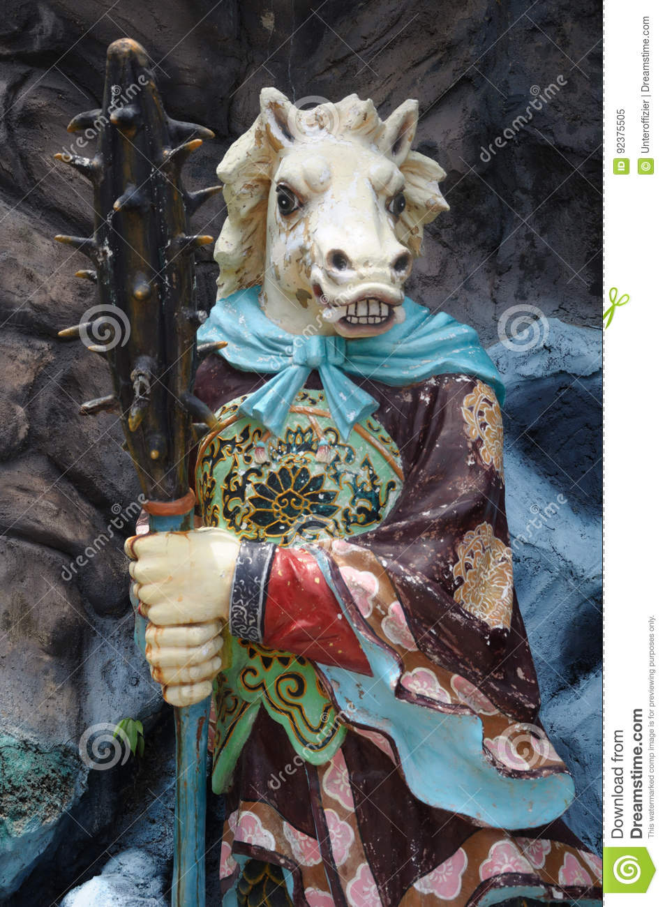 Download Statue Of Horse-Face At Haw Par Villa In Singapore. Editorial Image - Image of green, island: 92375505