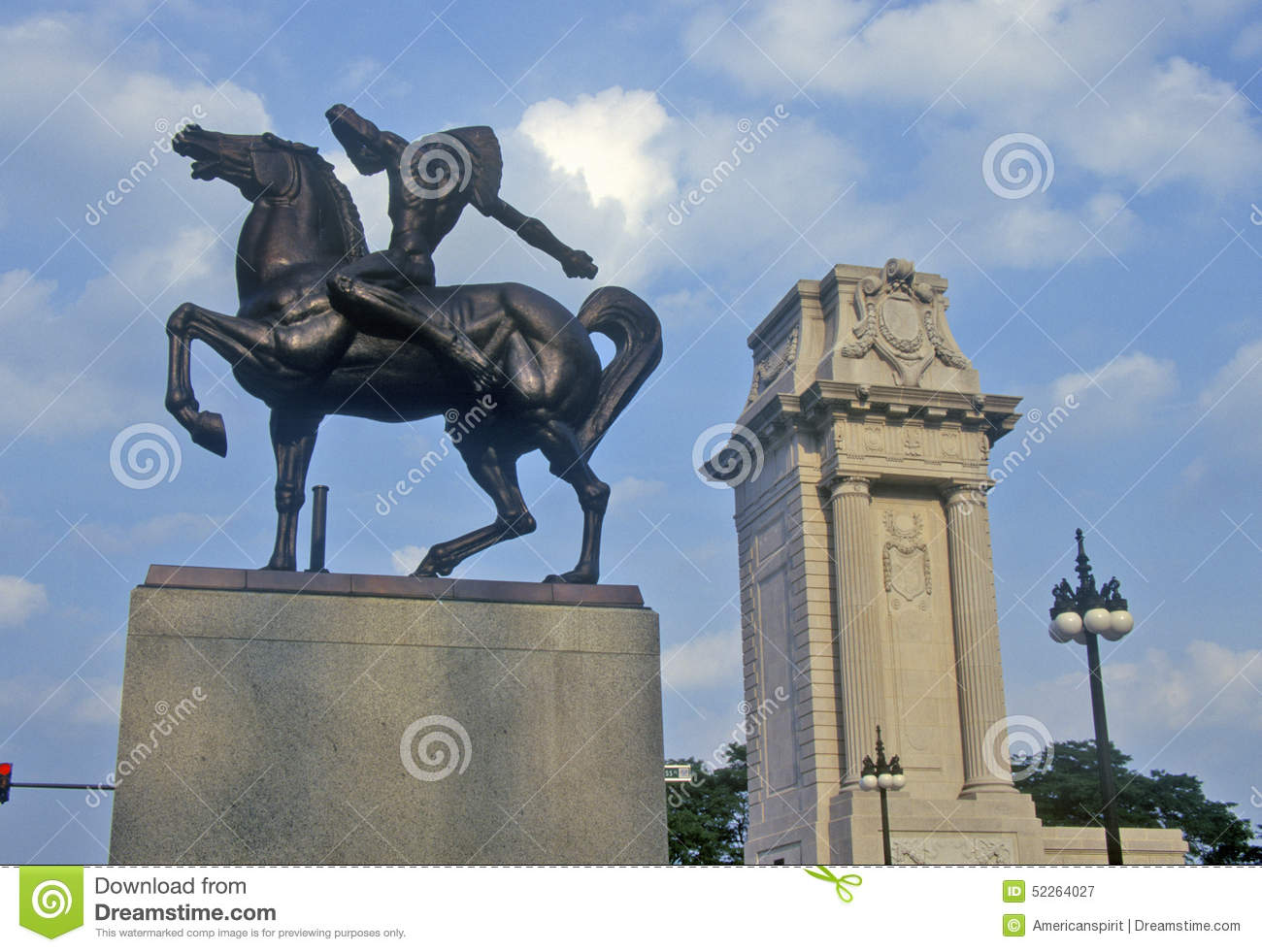 Statue Of Indian On Horse Grant Park Chicago Illinois