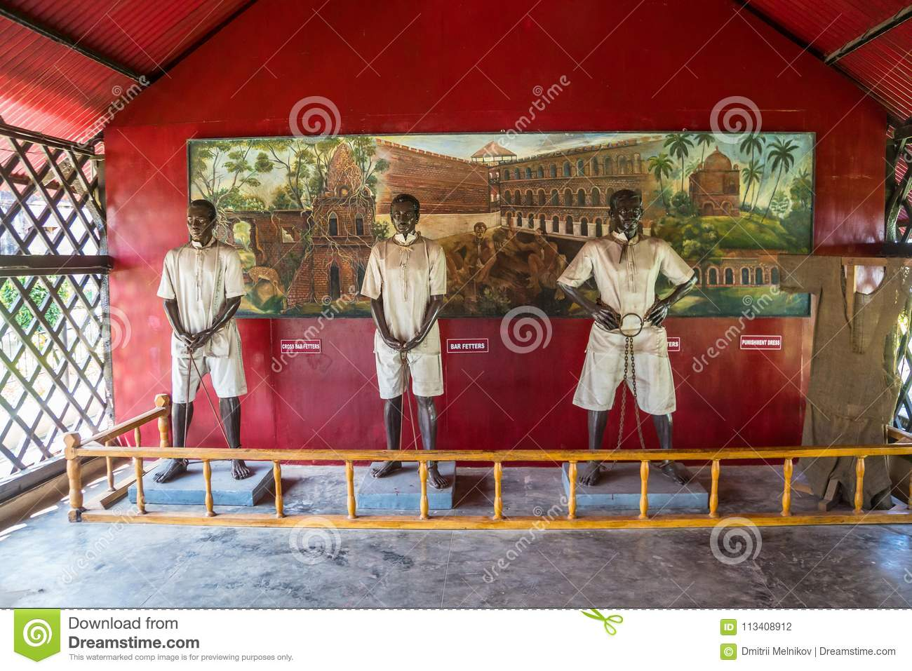 Statue of an Indian political prisoner in the Cellular Jail