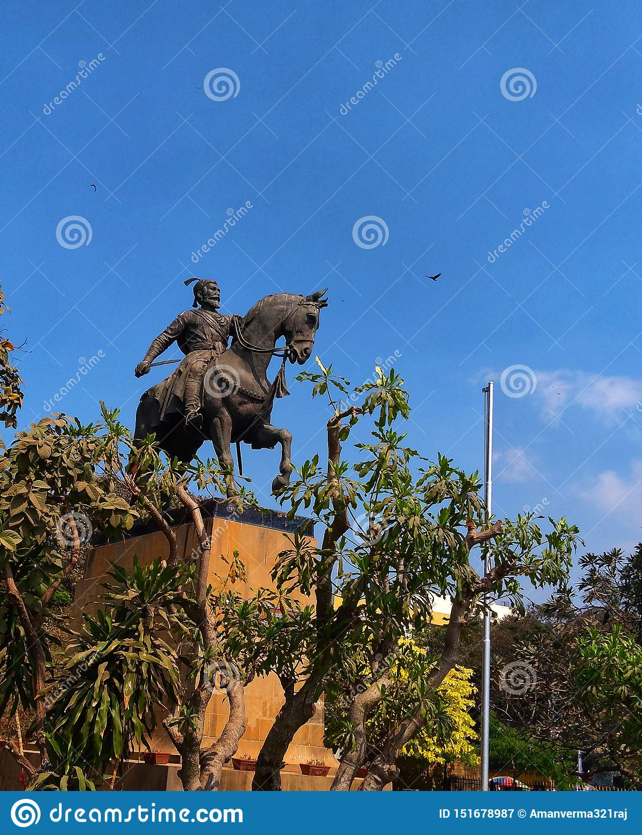Statue Of Indian warrior king known as Chhatrapati Shivaji Maharaj.
