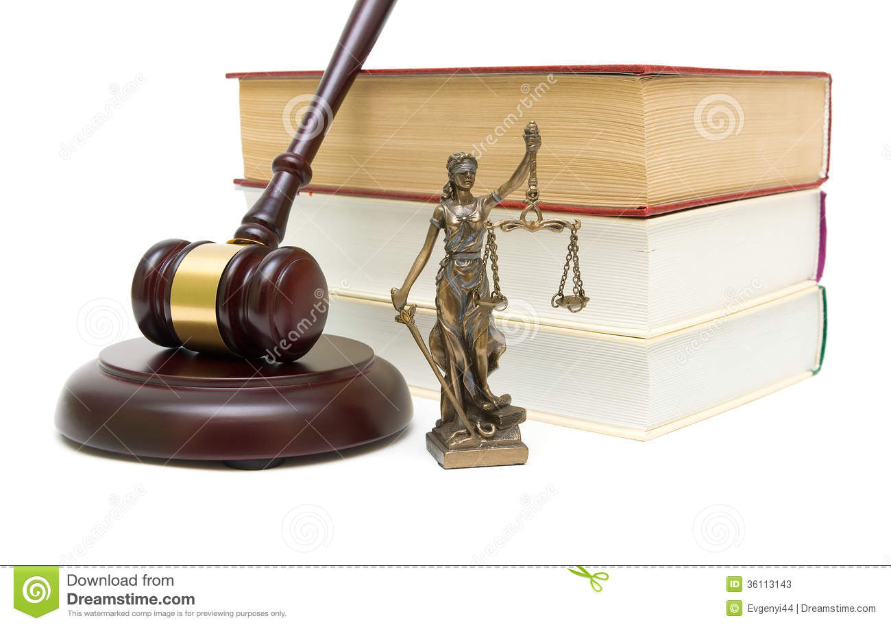 Statue of justice, gavel and books isolated on white background