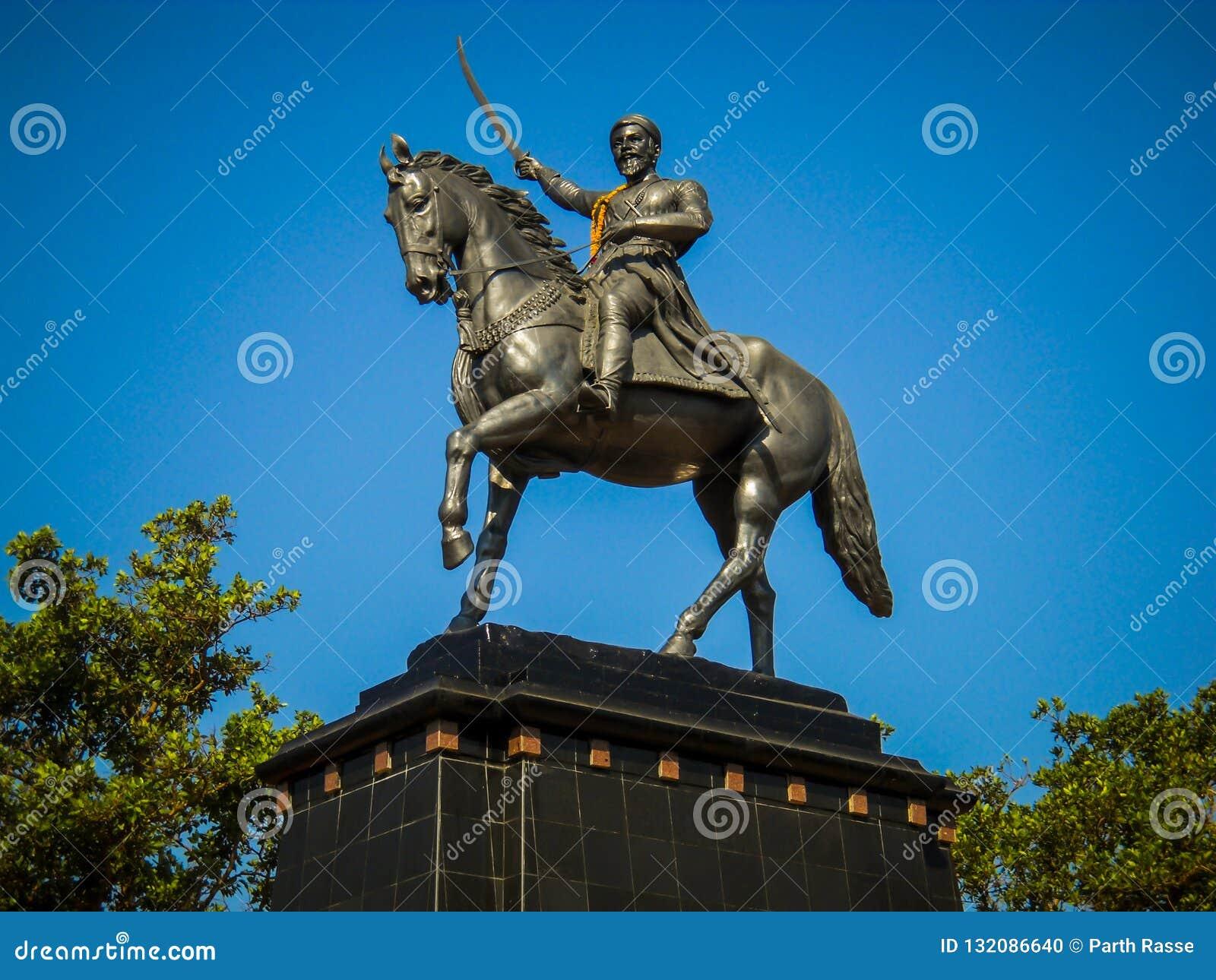 Statue of the king shivaji, in Pune, Maharashtra, India