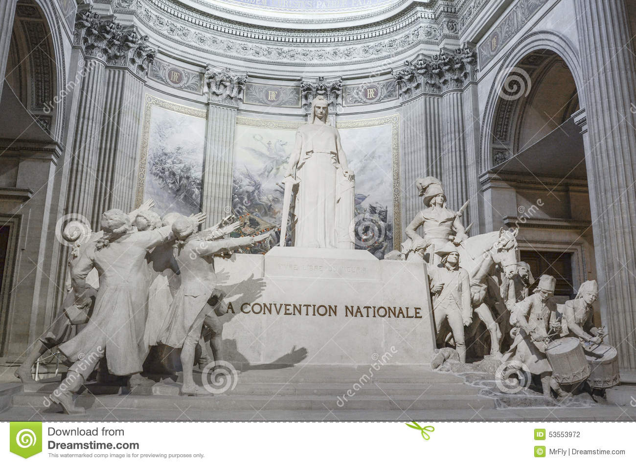 statue of la convention nationale inside the pantheon of paris editorial photography image. Black Bedroom Furniture Sets. Home Design Ideas