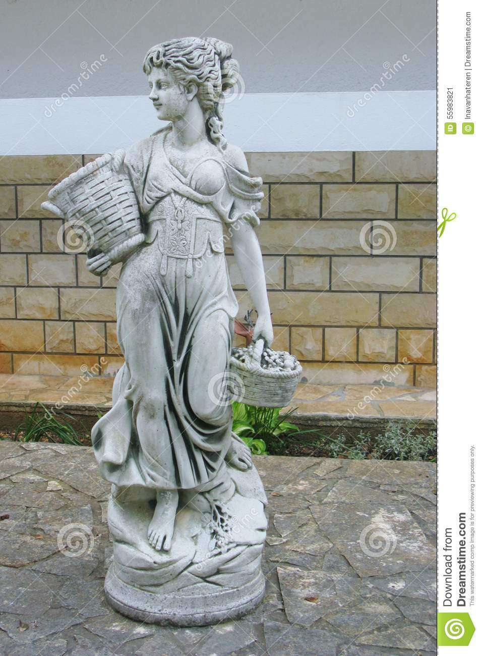 a statue of a lady in a garden stock image image 55983821. Black Bedroom Furniture Sets. Home Design Ideas