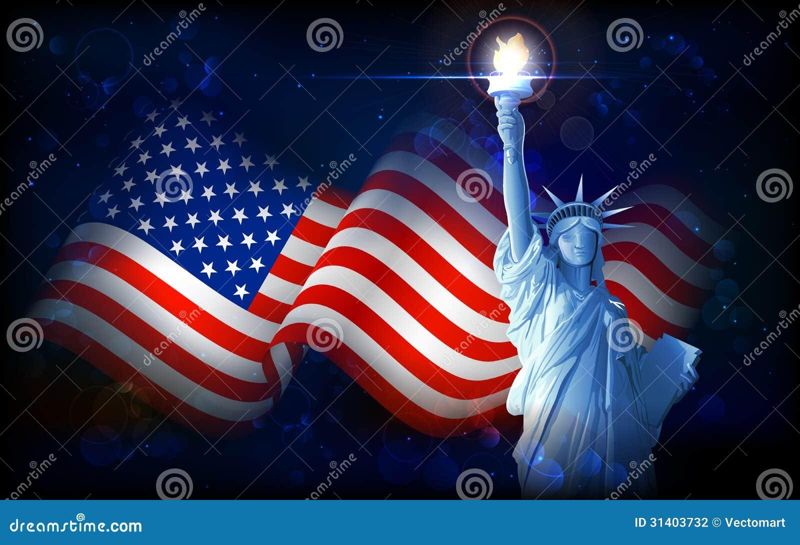 Heart flag usa statue liberty clipart