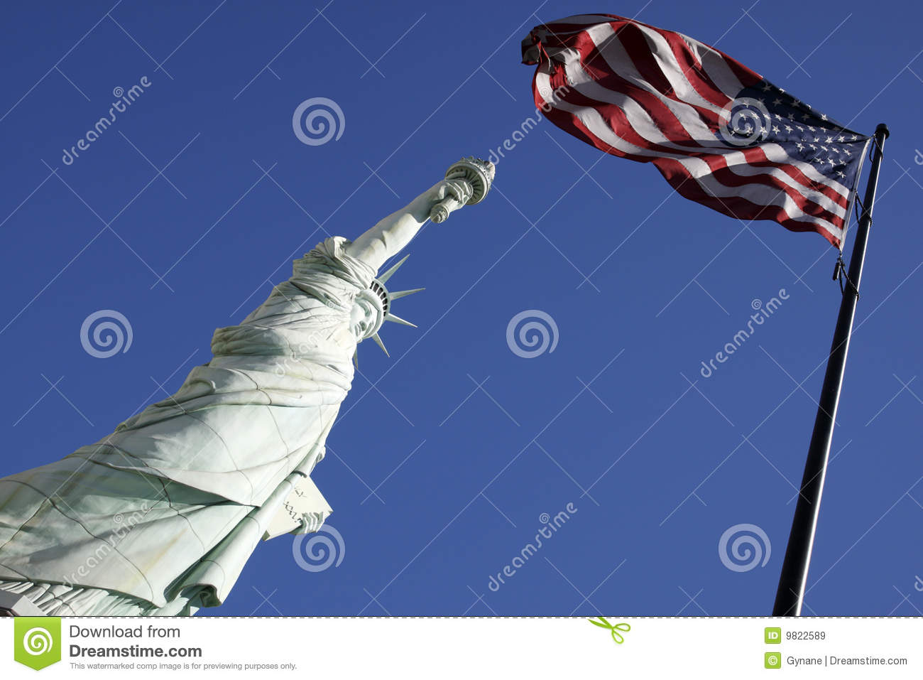 Liberty (MO) United States  city images : Statue Of Liberty And The American Flag United Sta Royalty Free Stock ...