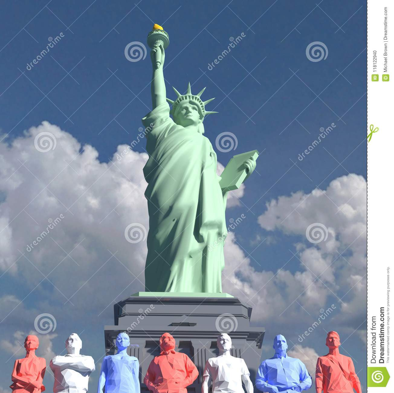 Statue of Liberty American people low poly