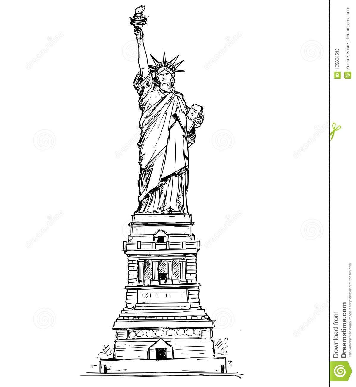 Statue Of Liberty Hand Drawing Stock Vector Illustration Of Liberty Independence 105604535