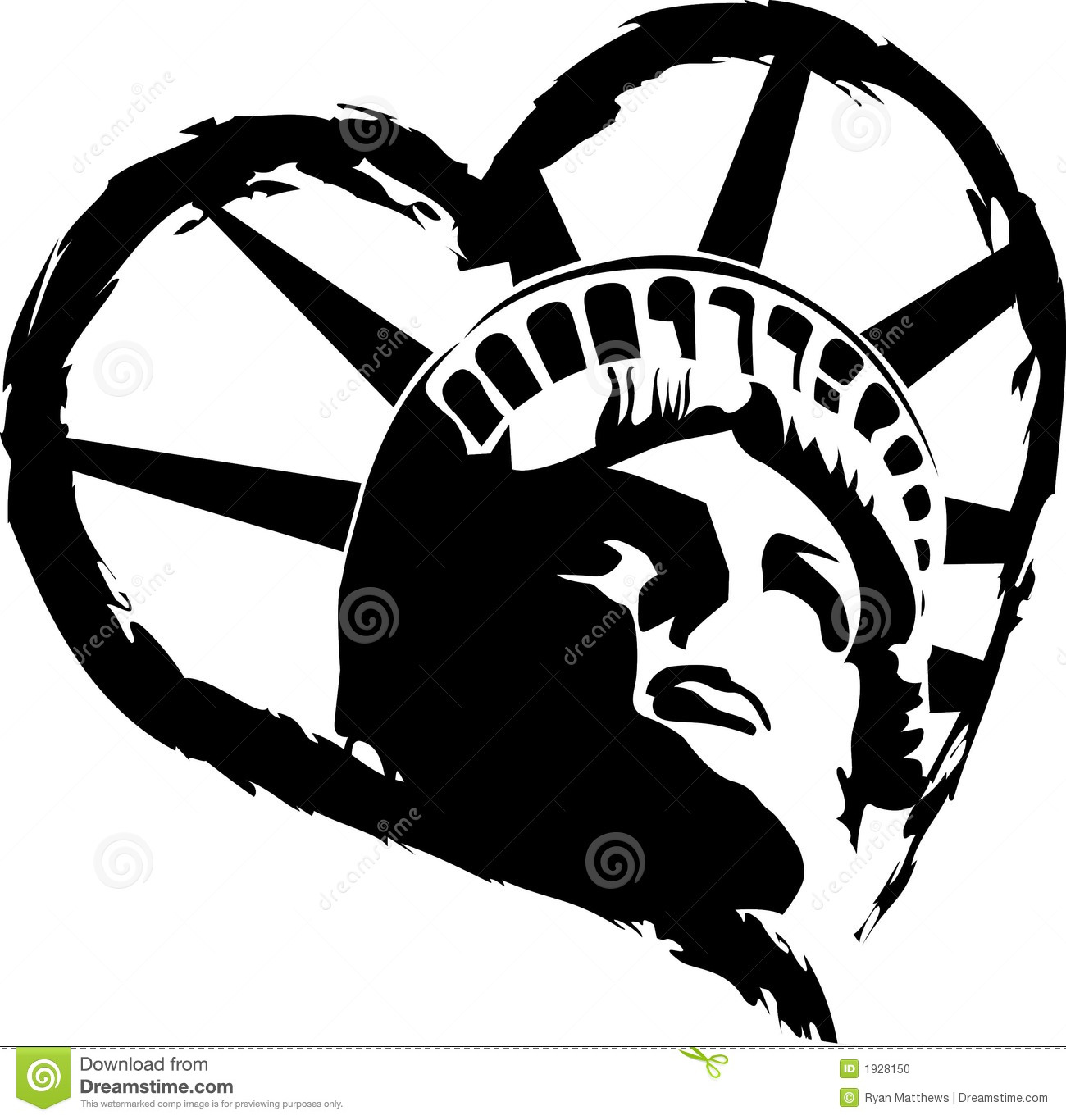Statue of Liberty Heart stock vector. Illustration of ...