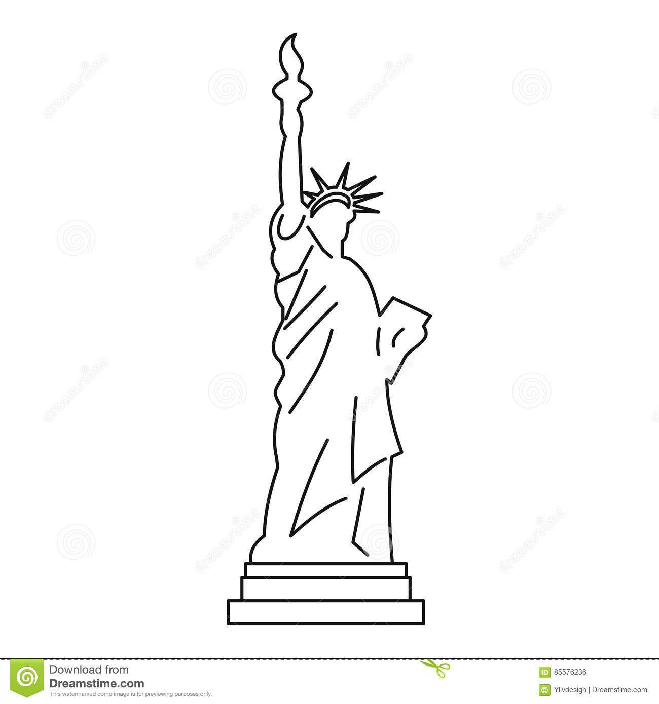 Statue of liberty icon outline style stock vector for Statue of liberty drawing template