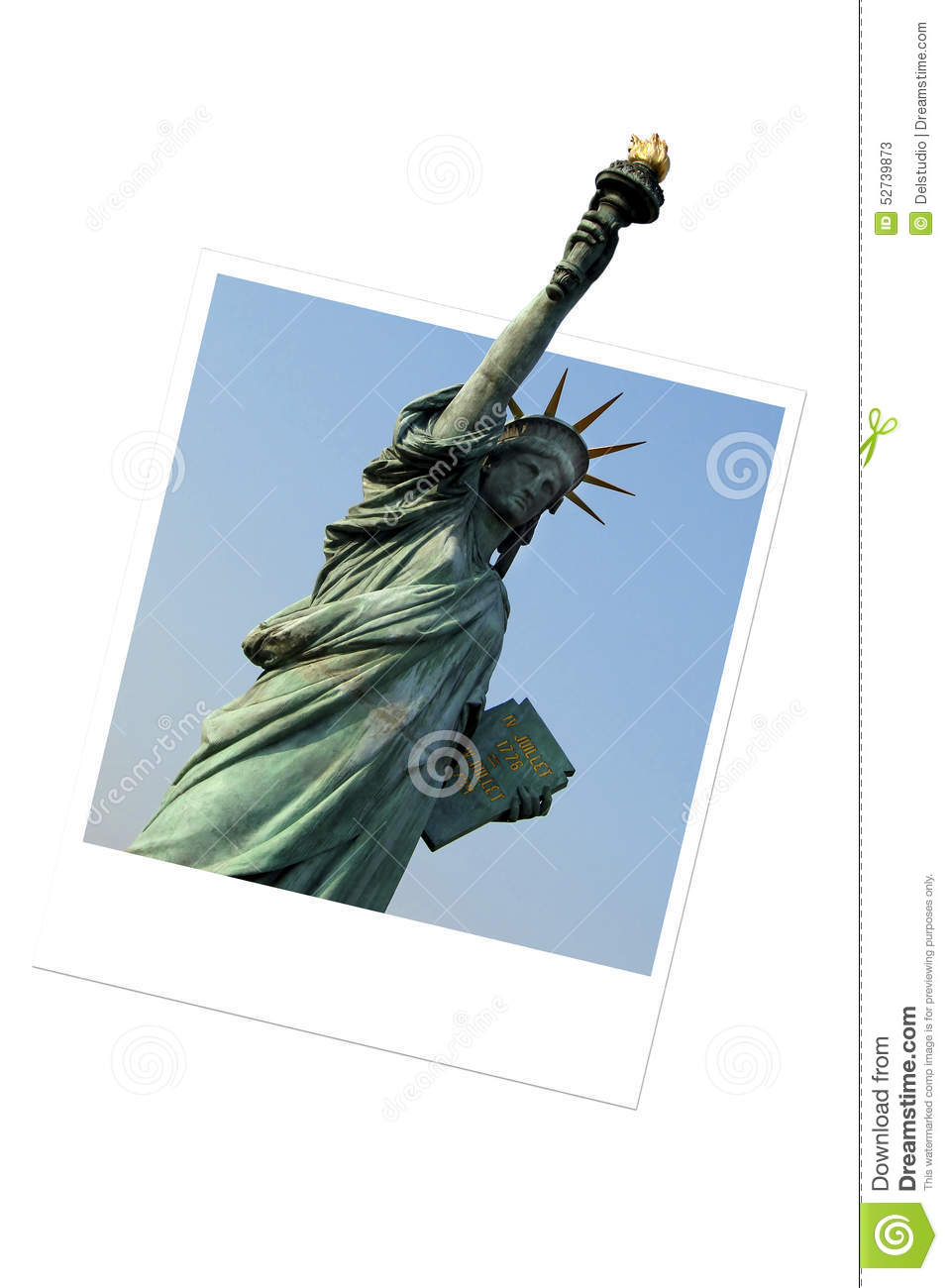 Statue Of Liberty In An Instant Photo Frame Stock Image Image Of