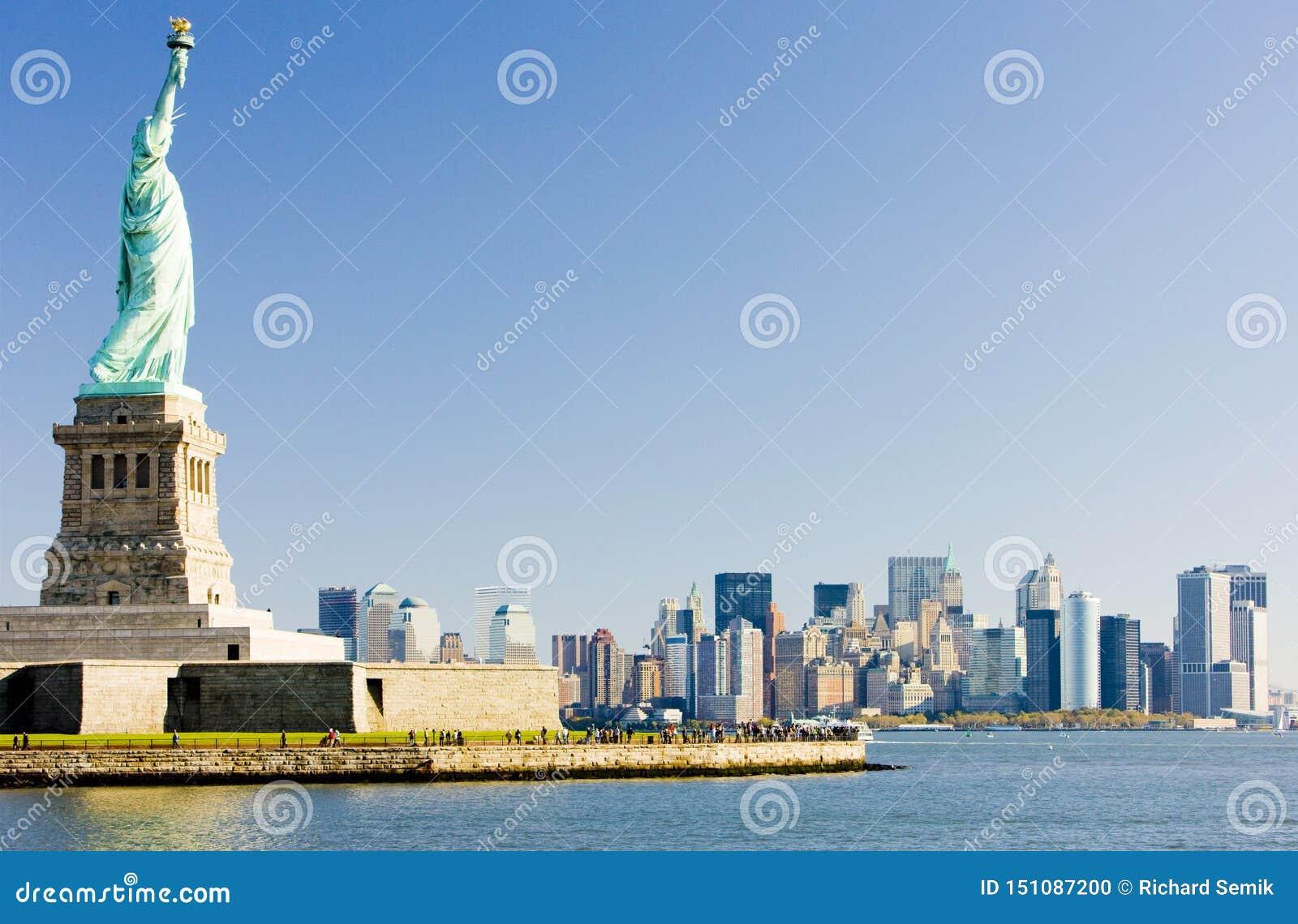 Statue of Liberty and Manhattan, New York City, USA