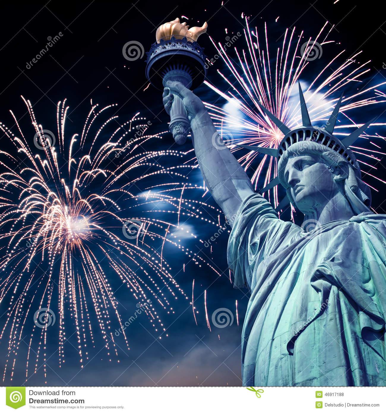 Statue Of Liberty At Night With Fireworks, New York Stock Photo ...
