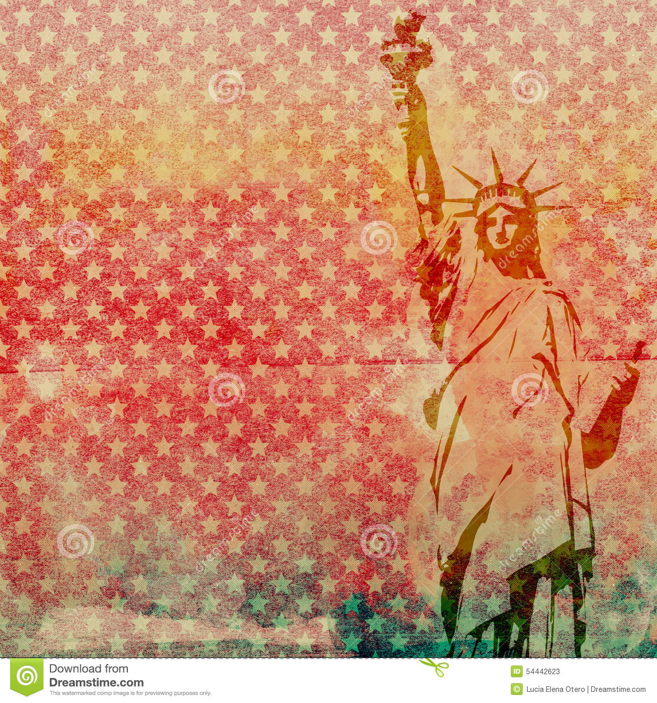 statue of liberty scrapbook paper stock photo