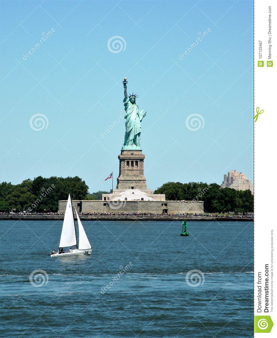 Statue of Liberty Seen from Harbor