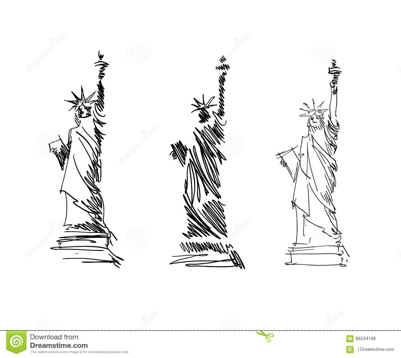 Statue of liberty sketch vector stock vector image 66534198 for Statue of liberty drawing template