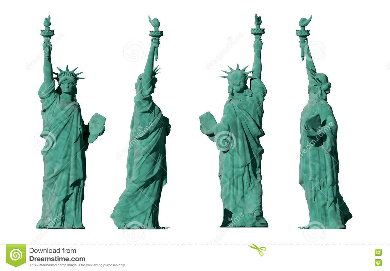 statue of liberty 4 views isolate on white background 3d render