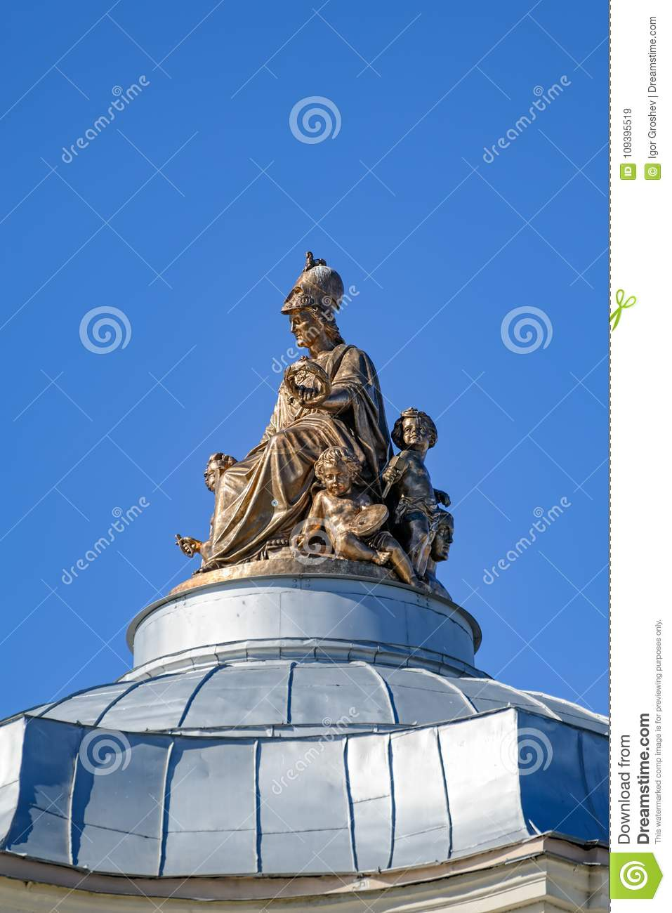 Statue Of Minerva On The Dome Of The Academy Of Fine Arts In