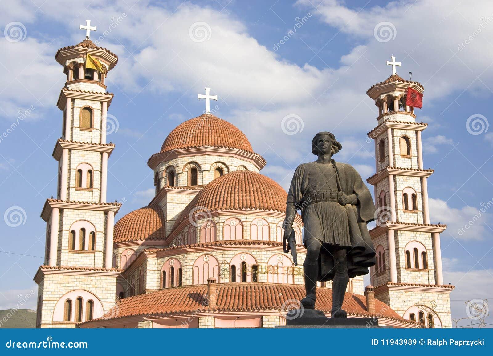 Statue and orthodox church, Korca, Albania