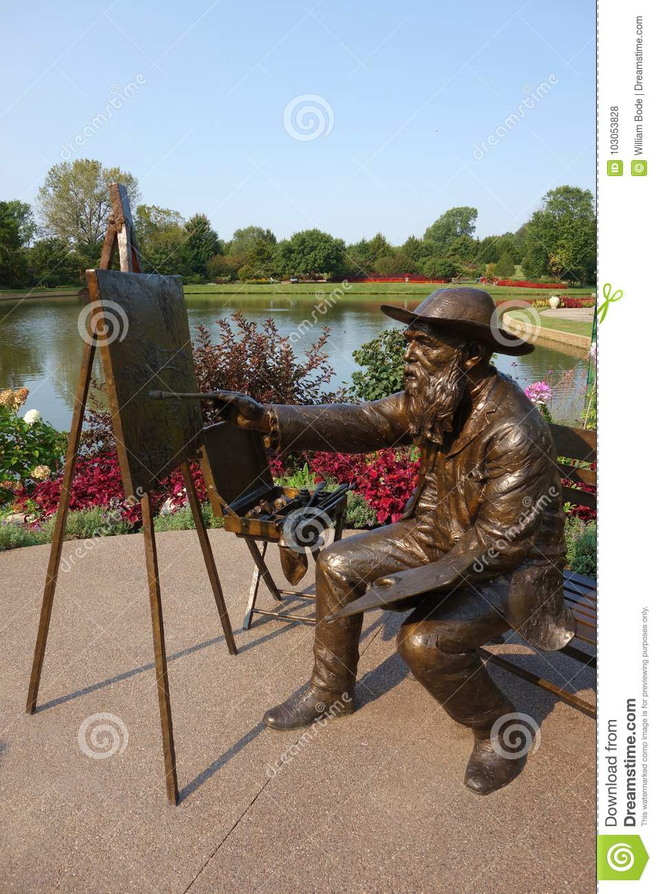 Statue Of Oscar-Claude Monet Painting Editorial Stock Photo - Image ...