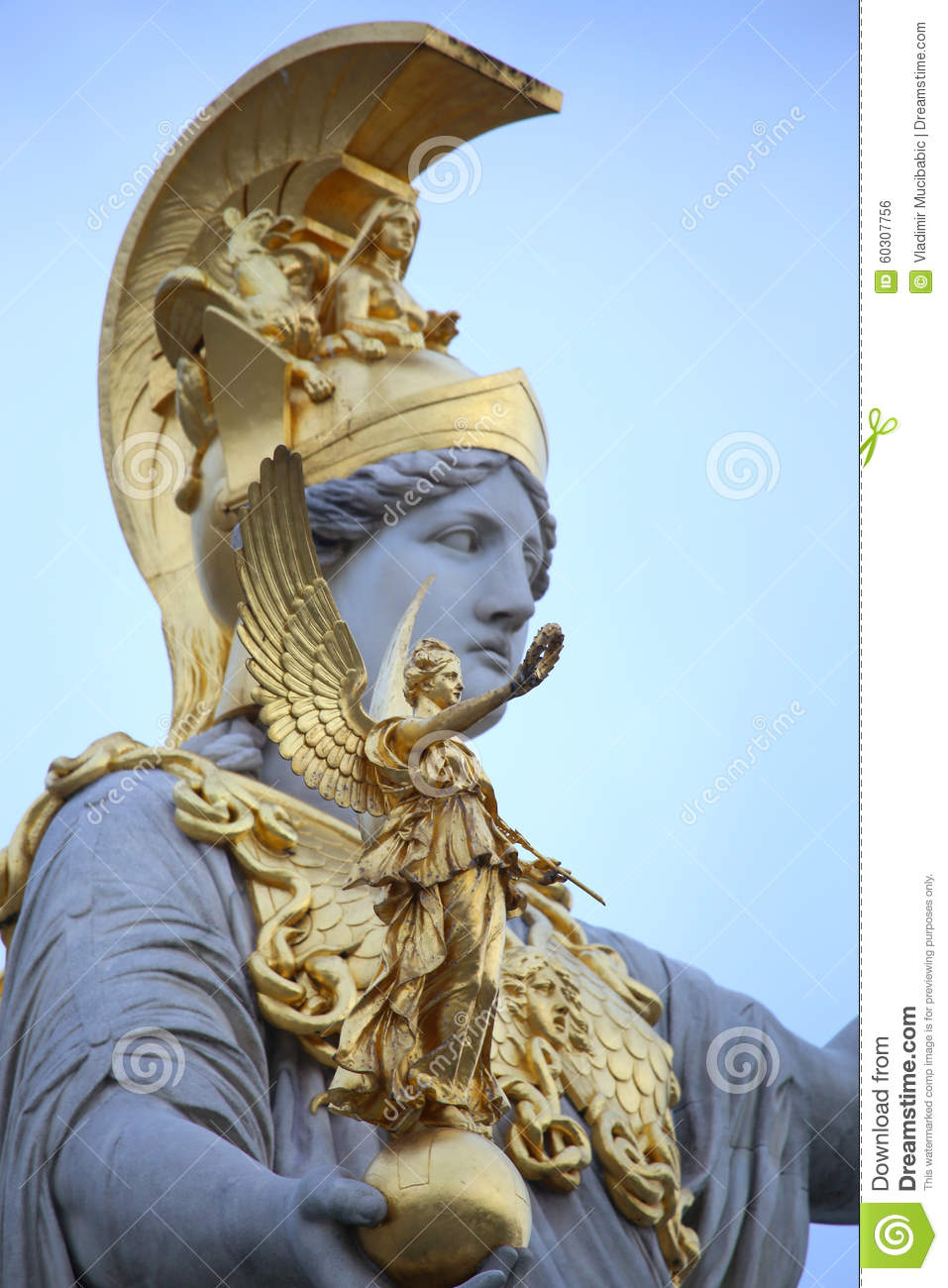 Statue Of Pallas Athena In Vienna, Austria Stock Photo