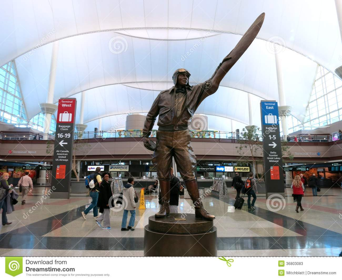 Statue Of A Pilot In Denver International Airport Lobby