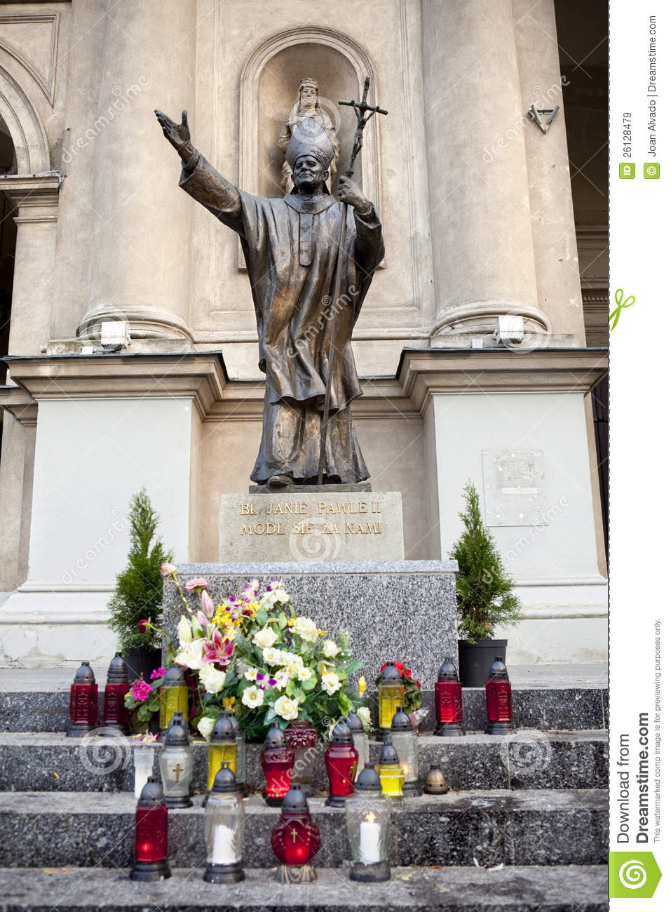 Statue of Pope John Paul the 2nd in Warsaw, Poland