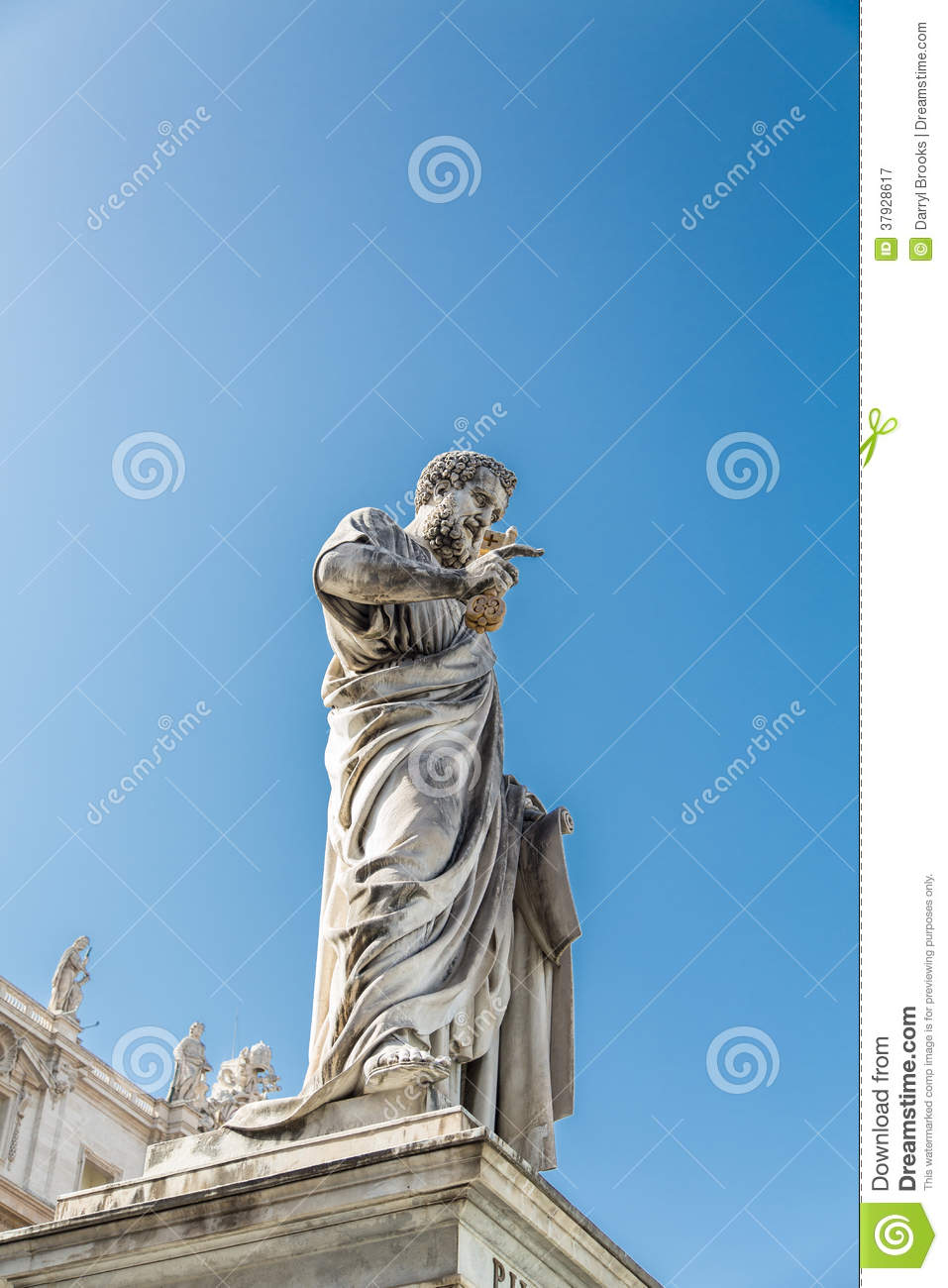 Statue of Pope Under Blue Sky in Saint Peters