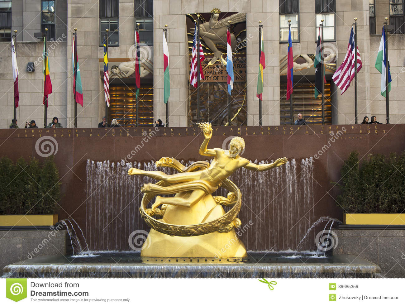 Statue Of Prometheus At The Lower Plaza Rockefeller Center In