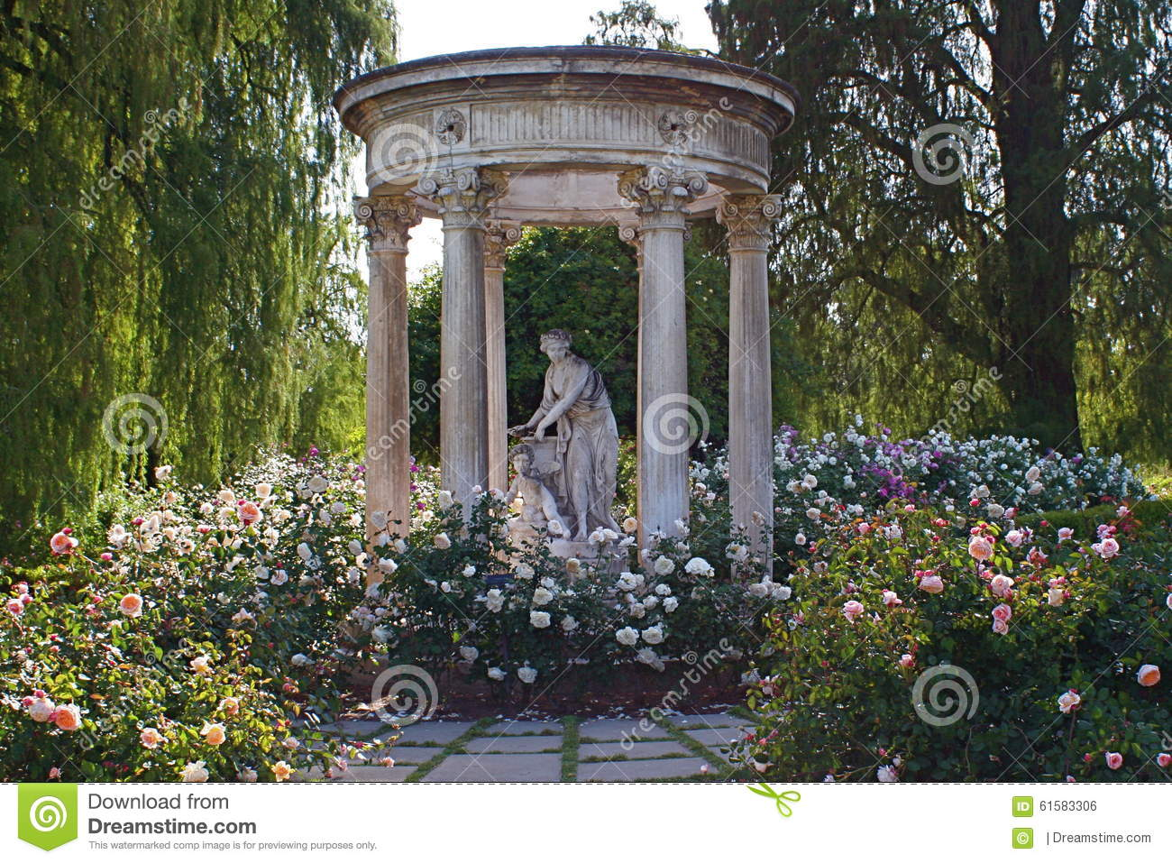 Statue In The Rose Garden At Huntington Library And Gardens Stock Photo Image 61583306