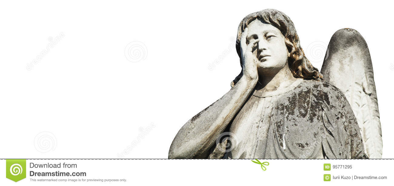 Statue Of Sad Angel As Symbol Of Eternity Life And Death Relig