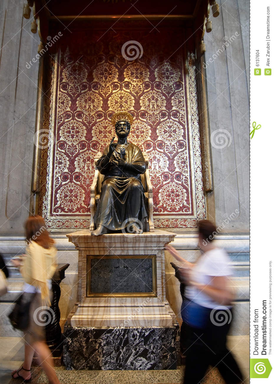 The Statue Of Saint Peter In St Peter S Basilica Stock