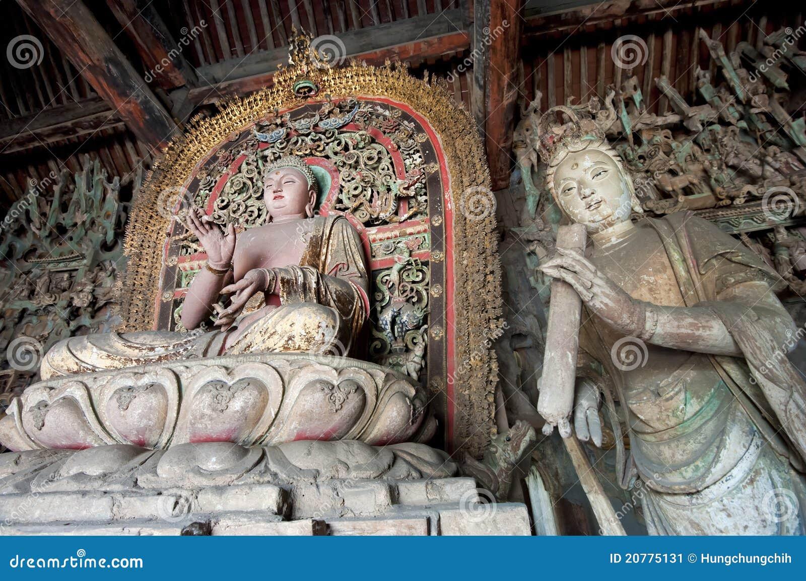 Statue of Sakyamuni buddha and female bodhisattva