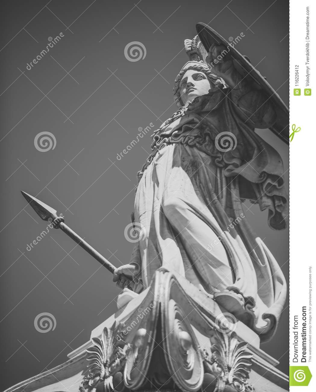 Statue, Sculpture Of Greek Warrior In Helmet With Spear And Shield