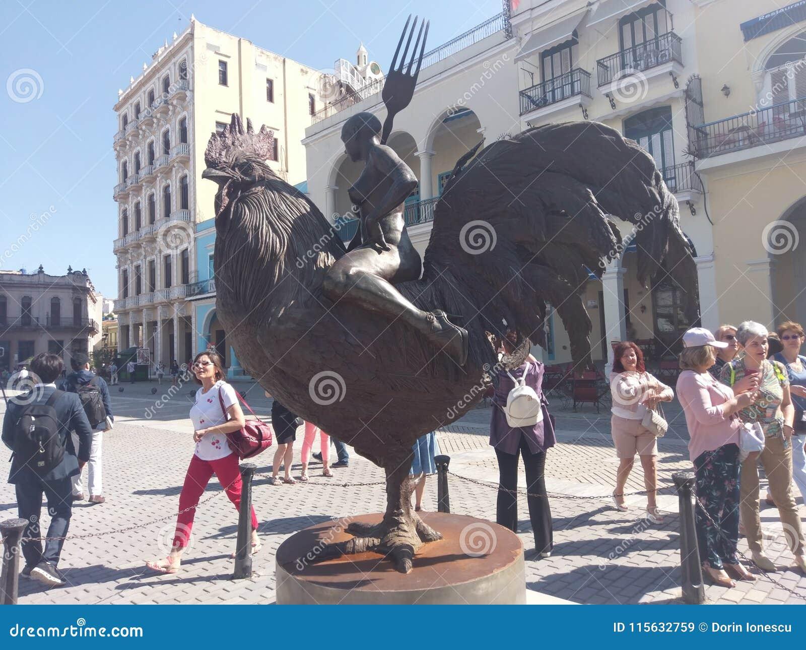 statue, sculpture, monument, tourism, recreation, cock, pedestal, plinth, footstall