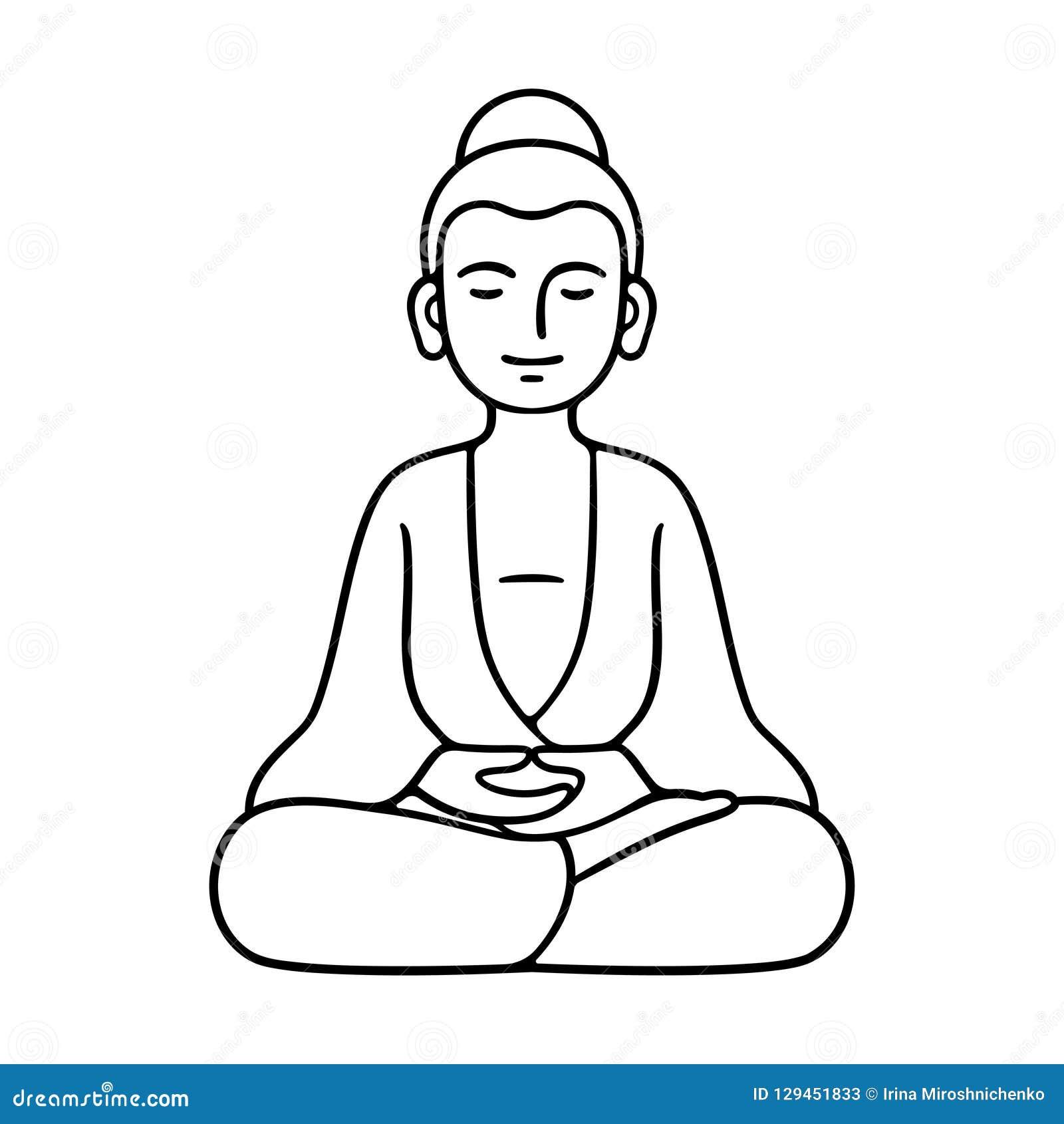 Statue Se Reposante Simple De Bouddha Illustration De Vecteur