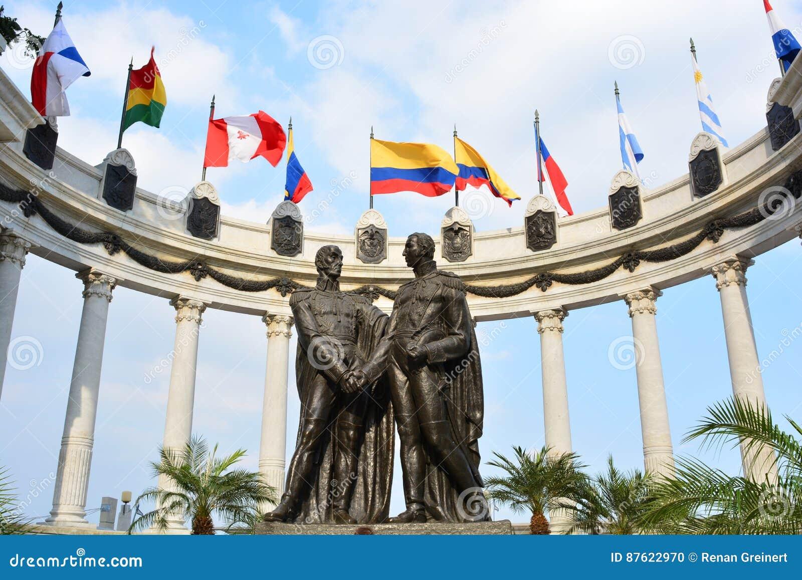 Statue of Simón Bolivar and San Martin de los Andes in Guayaquil, Ecuador